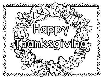Thanksgiving Poster and Wreath Creative Coloring Printables