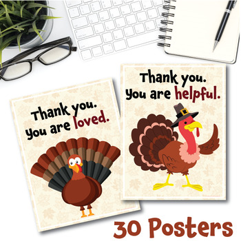 Thanksgiving Posters and Note Cards (Turkey Theme)