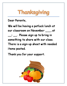 Thanksgiving Potluck Invitation and Sign-up for Parents
