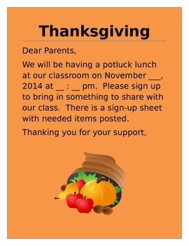 Thanksgiving potluck lunch invitation letter to parents by kinderswiss thanksgiving potluck lunch invitation letter to parents stopboris Image collections