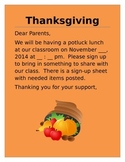 Thanksgiving Potluck Lunch Invitation Letter to Parents