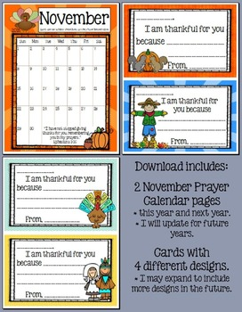 Thanksgiving Prayer Calendar and Cards