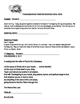 Thanksgiving Prayer Service Word Document