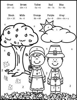 Thanksgiving Pre Algebra {Simplifying Algebraic Expressions Coloring}