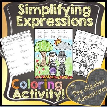 Thanksgiving Pre-Algebra Activity {Simplifying Algebraic Expressions Coloring}