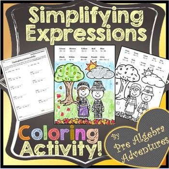 Simplifying Expressions {Combining Like Terms Distributive Property Coloring}