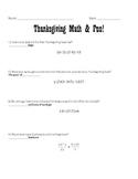 Thanksgiving Pre-Algebra handout