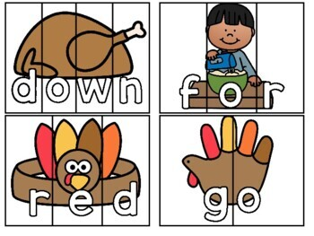 Thanksgiving Pre Primer Sight Word Games