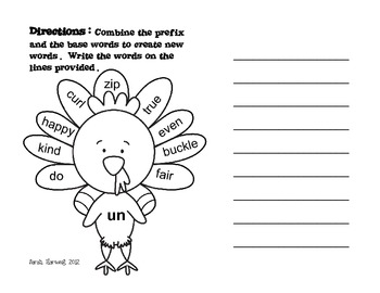 Thanksgiving Prefix Practice