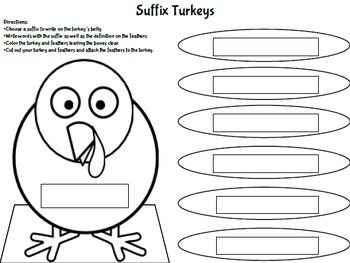 Thanksgiving Prefix and Suffix Turkeys