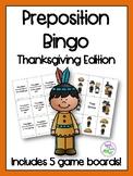 Thanksgiving Preposition Bingo