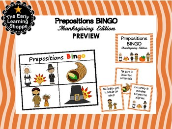Thanksgiving Prepositions Bingo Game  *10 Boards*