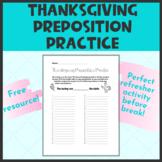 Thanksgiving Prepositions Practice
