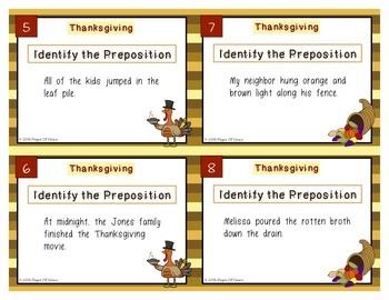 Thanksgiving Prepositions Task Cards