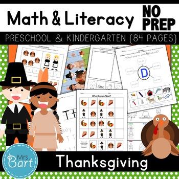 Thanksgiving Preschool Pack- 48 PAGES!