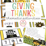 THANKSGIVING THEME ACTIVITIES FOR PRESCHOOL, PREK AND KINDERGARTEN