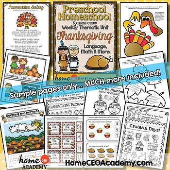 Thanksgiving Preschool Mega Pack-2 Weekly Units for Preschool, PreK, Homeschool