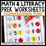 Thanksgiving Preschool Worksheets November