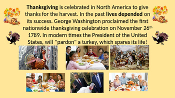 Thanksgiving Presentation / Assembly, tutor/ form time/ PSHE. Food for Thought.