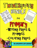 Thanksgiving Primary Writing Activities, Prompts and Coloring Sheets!