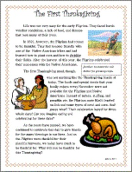 Thanksgiving Primary Reading Writing Activity Pack