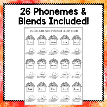 Thanksgiving Print & Go Articulation Worksheets Loaded with Thanksgiving Vocab