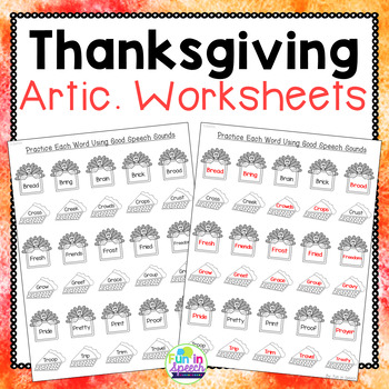 Thanksgiving Print & Go Articulation Worksheets Loaded wit