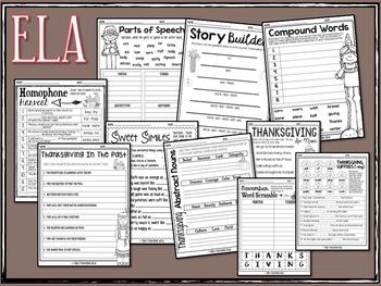Thanksgiving Activities Bundle 3rd Grade Writing Math Language and More