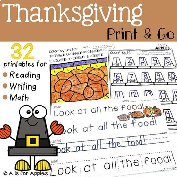 Thanksgiving Print and Go {ELA & Math}