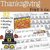 Thanksgiving Print and Go {ELA & Math}