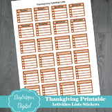 Thanksgiving Printable Activities List Stickers for Planners