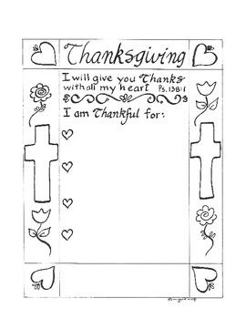 Thanksgiving Printable - Bible verse Psalm 138  - I am Thankful for