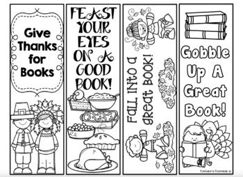 graphic regarding Printable Book Marks called Thanksgiving Printable Bookmarks