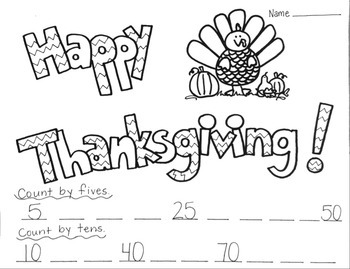 Thanksgiving Printable Coloring Worksheet Counting by Fives and Tens