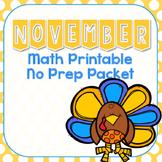 November & Thanksgiving Math Printable No Prep Packet