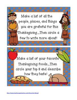 Thanksgiving Printable Writing Prompts in Color and Black & White