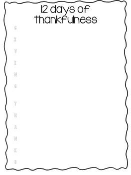 Thanksgiving Printables, 12 Days of Thankfulness List, Giving Thanks