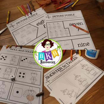Thanksgiving Activities ● No Prep ● Roll & Color ● Clip Cards ● Puzzles