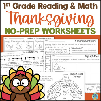 Thanksgiving No-Prep Printables for Grades 1 to 2