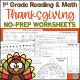 Thanksgiving Reading and Math No-Prep Worksheets 1st Grade