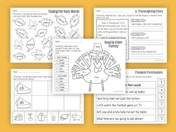 Thanksgiving Reading and Math No-Prep Worksheets 1st Grade
