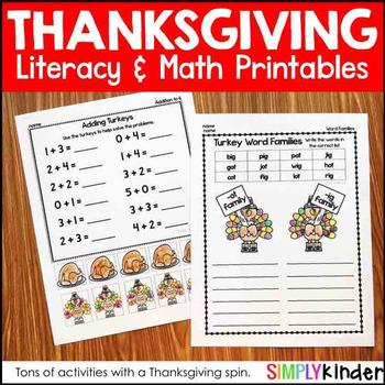 kindergarten thanksgiving activities by simply kinder tpt