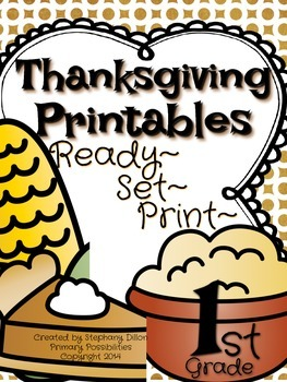 Thanksgiving Printables for First Grade {Ready, Set, Print!}