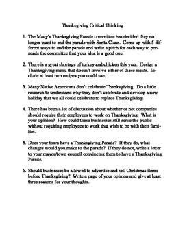 Thanksgiving Problem Solving Ideas