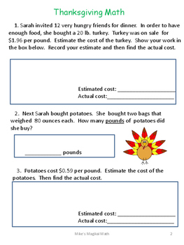 Thanksgiving Problem Solving Packet