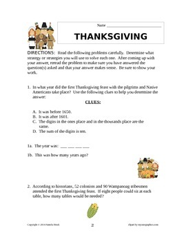 Thanksgiving Problem Solving/Critical Thinking