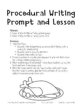 Thanksgiving Procedural Writing Lesson CC W.1.2, W.2.2 W.3.2