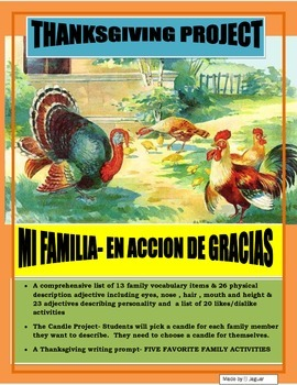 Thanksgiving Project in Spanish- Mi Familia-Dia de Accion