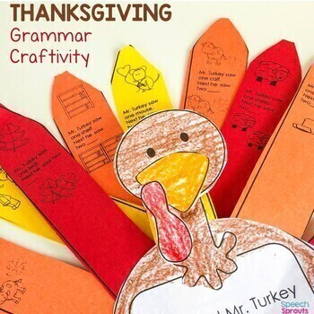 Thanksgiving Pronouns, Plurals and Verbs: Game and Craftivity for Speech Therapy