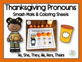 Thanksgiving Pronouns Smash Mats & Coloring Sheets